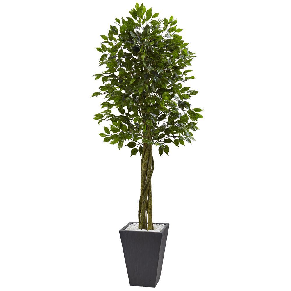 Indoor/Outdoor Ficus Artificial Tree with Slate Planter, UV Resistant