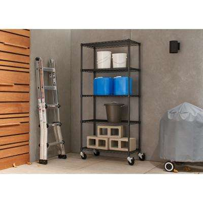 PRO 18 in. x 36 in. x 77 in. Black Anthracite 5 Tier Wire Shelving Rack with Wheels