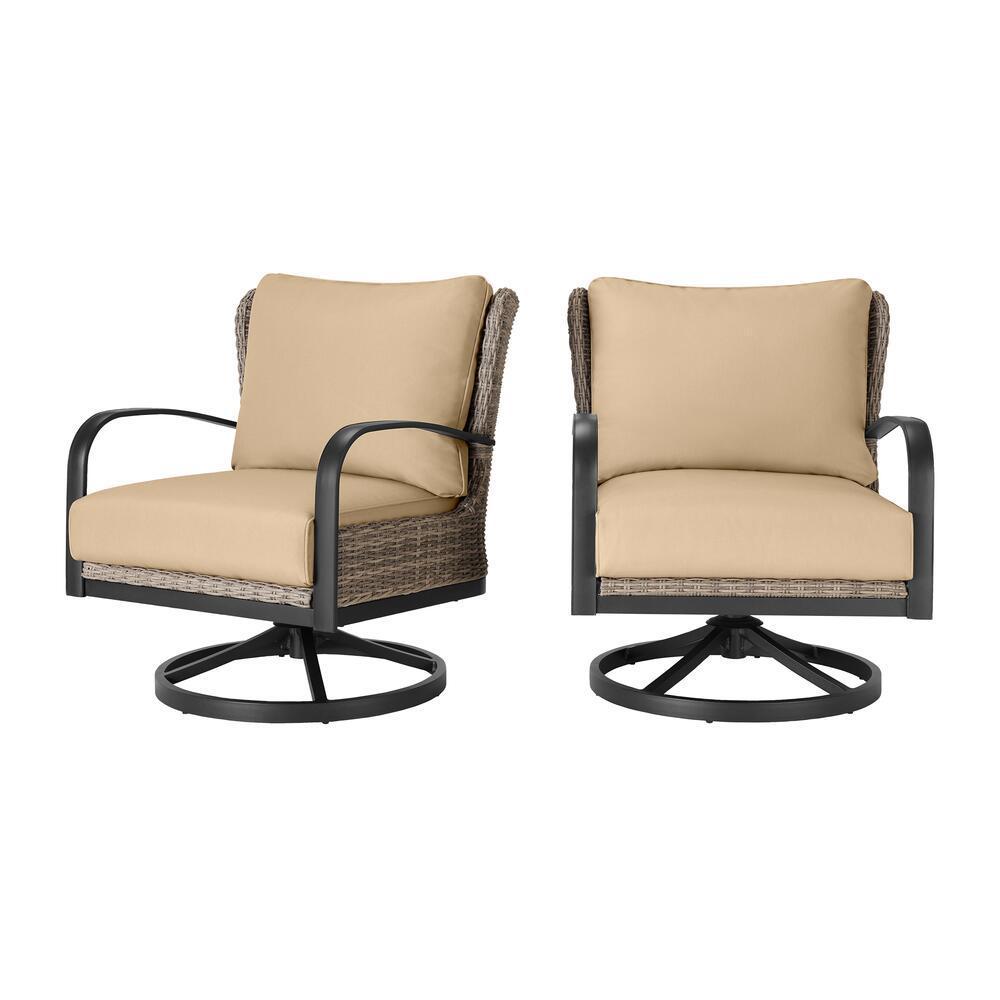 Hazelhurst Brown Wicker Outdoor Patio Swivel Lounge Chair with Sunbrella Beige Tan Cushions (2-Pack)