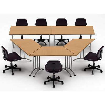 5-Piece Natural Beech Conference Tables Meeting Tables Seminar Tables Compact Space Maximum Collaboration