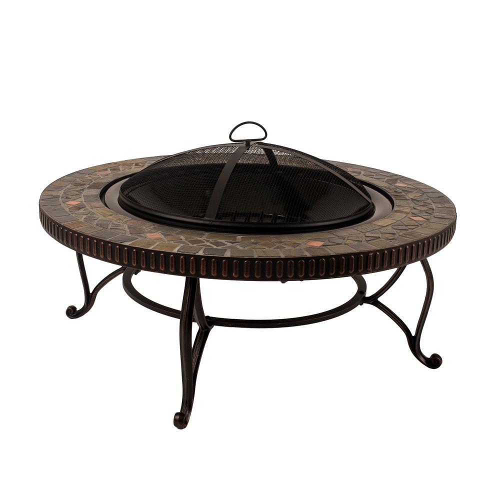 Pleasant Hearth Elizabeth 34 in. x 19.69 in. Round Steel Wood Fire Pit in Slate
