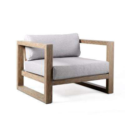 Paradise Outdoor Patio Lounge Chair in Eucalyptus Wood with Teak Finish and Light Gray Fabric
