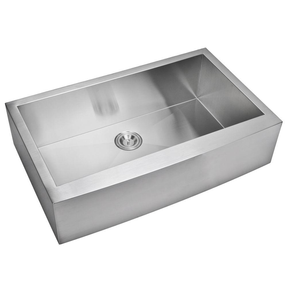 Farmhouse Apron Front Zero Radius Stainless Steel 36 in. Single Basin Kitchen Sink in Satin