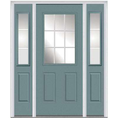 64 in. x 80 in. Internal Grilles Right-Hand Inswing 1/2-Lite Clear Painted Steel Prehung Front Door with Sidelites