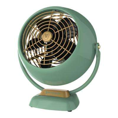 VFan Jr. 6.4 in Small Vintage Whole Room Air Circulator Desk Fan, Green