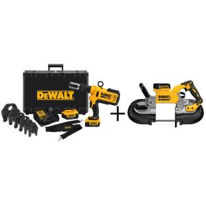 Dewalt 20-Volt MAX Lithium-Ion Cordless Copper Pipe Crimper Kit with (2) Batteries 4Ah, Charger, Case and Bonus XR Band... by DEWALT