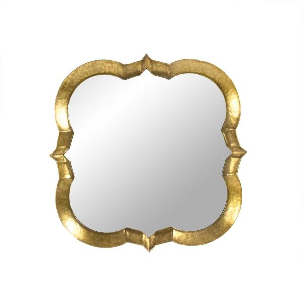 Large Novelty Distressed Gold Antiqued Art Deco Mirror (53.25 in. H x 53.25 in. W)