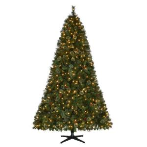 pre lit led alexander pine quick set artificial christmas tree with pinecones and warm white lights tg76m5311l00 the home depot - White Christmas Tree For Sale