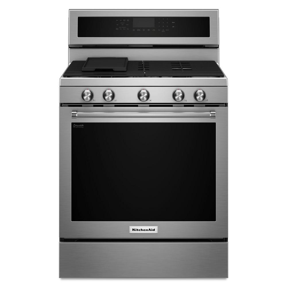 KitchenAid 5.8 cu. ft. Gas Range with Self-Cleaning Oven in ...