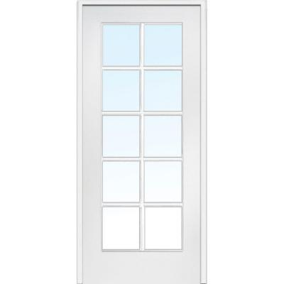 30 in. x 80 in. Left Handed Primed Composite Clear Glass 10 Lite True Divided Single Prehung Interior Door