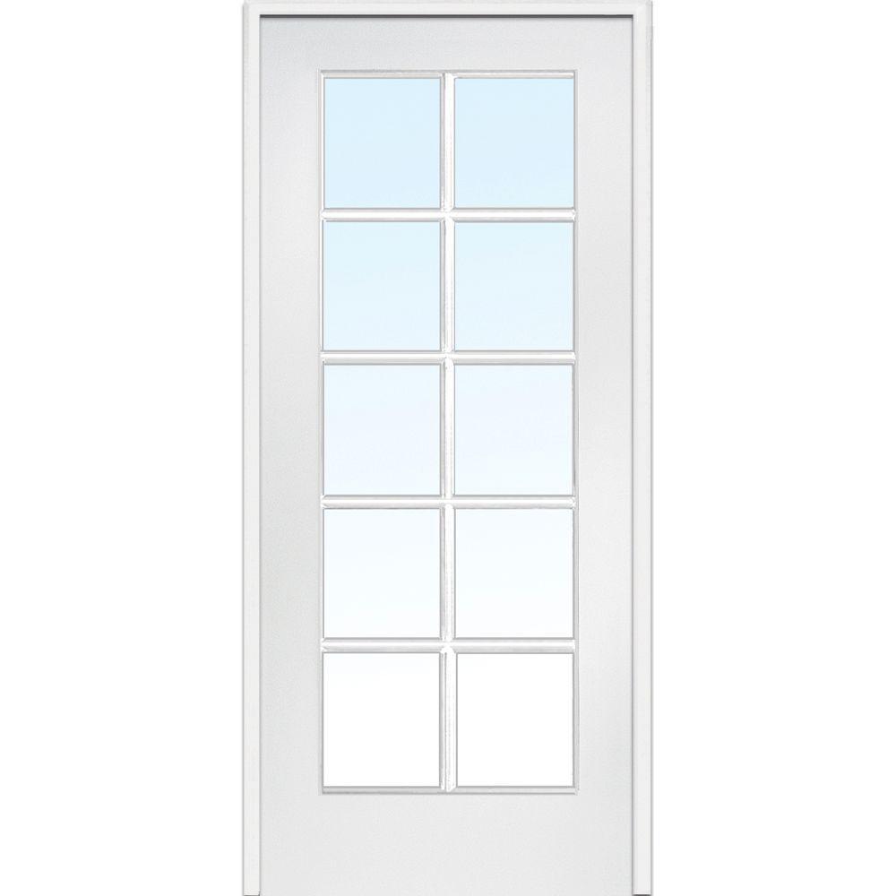 Left handed primed 30 x 80 prehung doors interior closet classic clear glass 10 lite interior french door planetlyrics Gallery