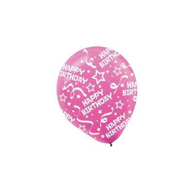 12 in. Bright Pink Birthday Confetti Latex Balloons (6-Count, 9-Pack)