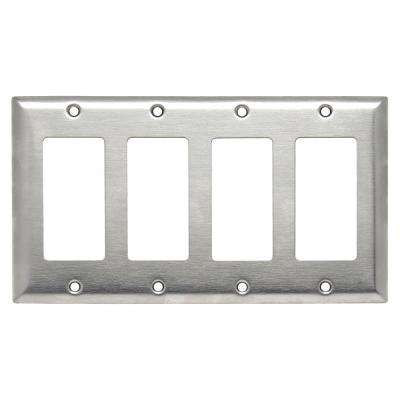 302 Series 4-Gang Decorator Wall Plate in Stainless Steel