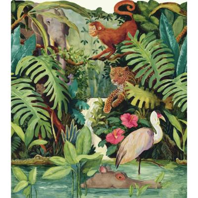 23.875 in Brothers and Sisters V Jungle Scenic Border bright multicolor Wallpaper Border