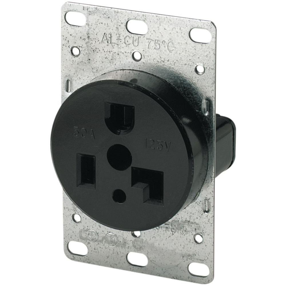 eaton 30 amp 125 volt 5 30r 2 pole 3 wire flush mount power rh homedepot com wiring a 30 amp outlet rv wiring 30 amp outlet