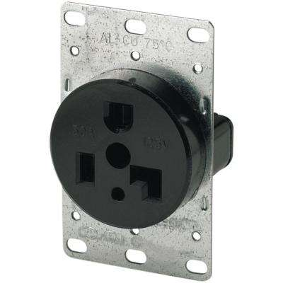 30 Amp 125-Volt 5-30R 2-Pole/3-Wire Flush Mount Power Receptacle, Black