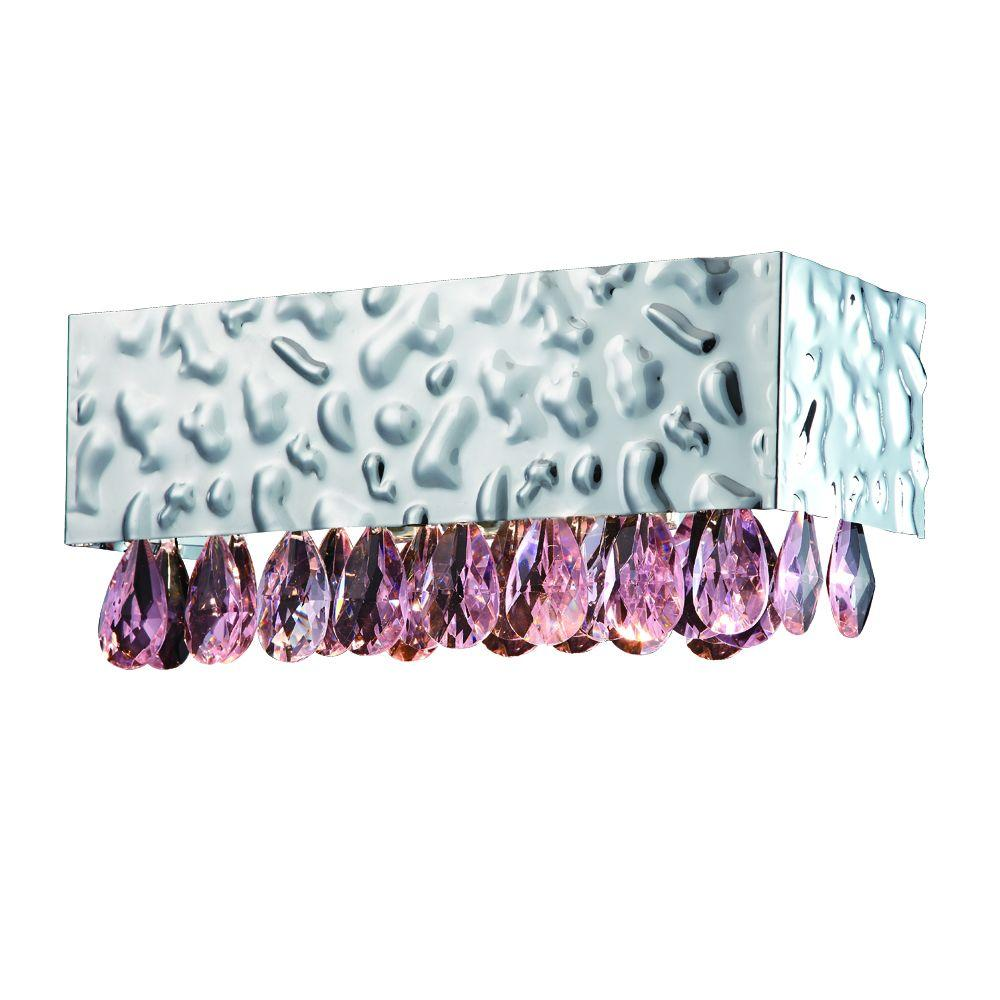Martellato Collection 1-Light Chrome Wall Sconce with Pink Crystal Drops-DISCONTINUED