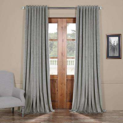 Signature Silver Grey Doublewide Grommet Blackout Velvet Curtain - 100 in. W x 108 in. L