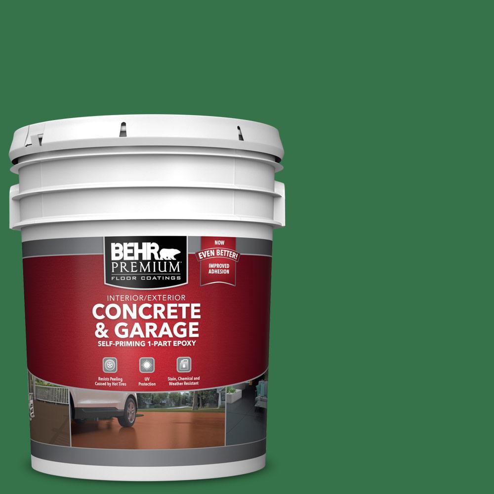 BEHR PREMIUM 5 gal. #P410-7 Grasslands Self-Priming 1-Part Epoxy Satin Interior/Exterior Concrete and Garage Floor Paint