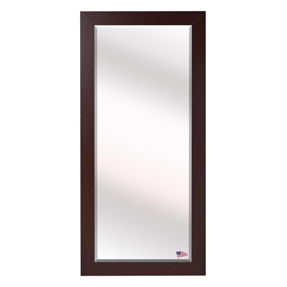 32 in. x 65.5 in. Dark Mahogany Beveled Full Body Mirror