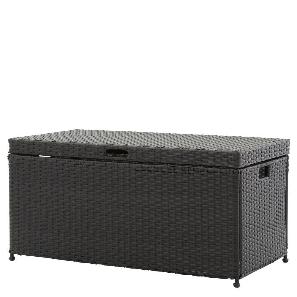 Jeco Black Wicker Patio Furniture Storage Deck Box Ori003