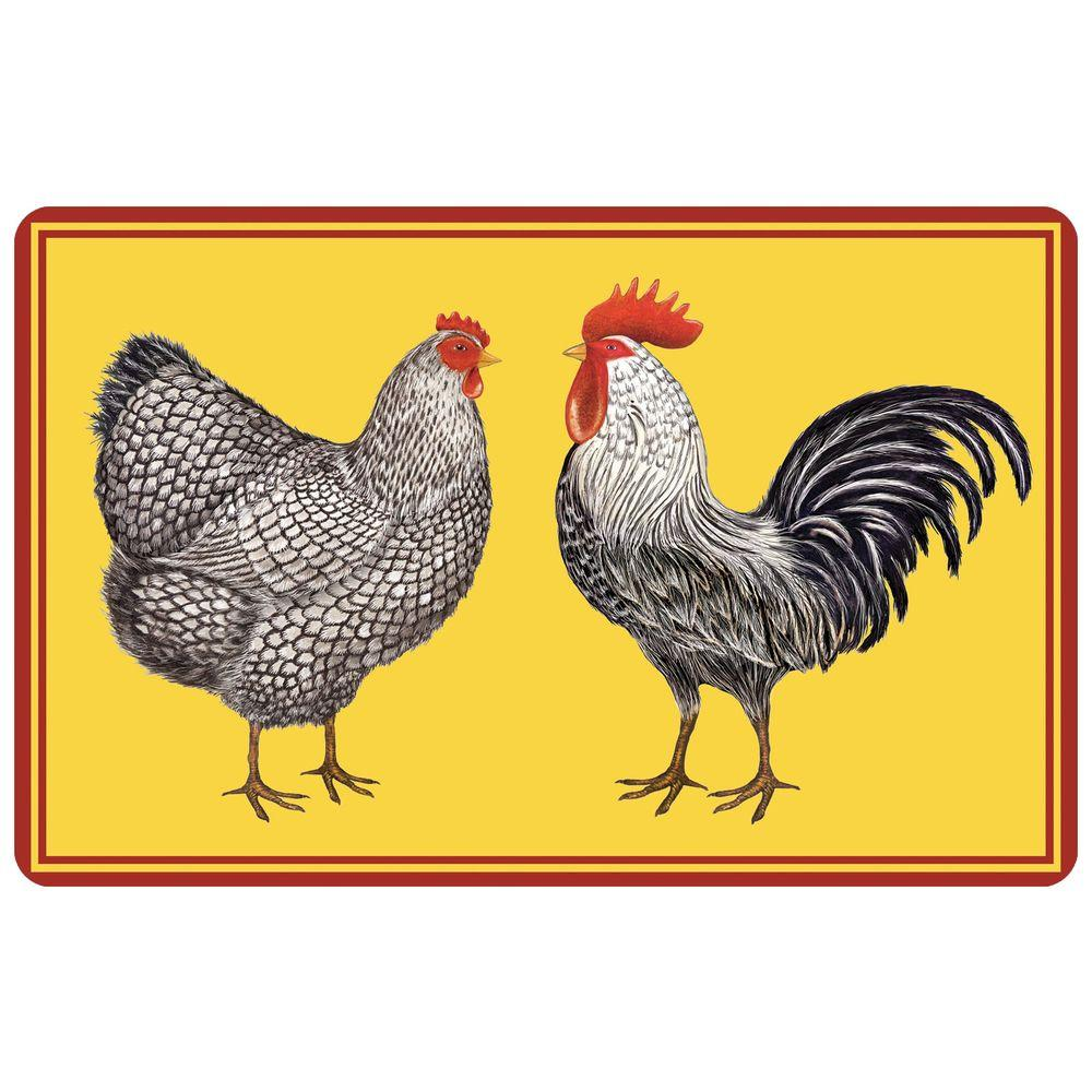 Bungalow Flooring Multi Color 18 in. x 27 in. Neoprene Farmhouse Chickens Door Mat