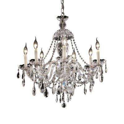 7-Light Chrome Chandelier with Clear Crystal
