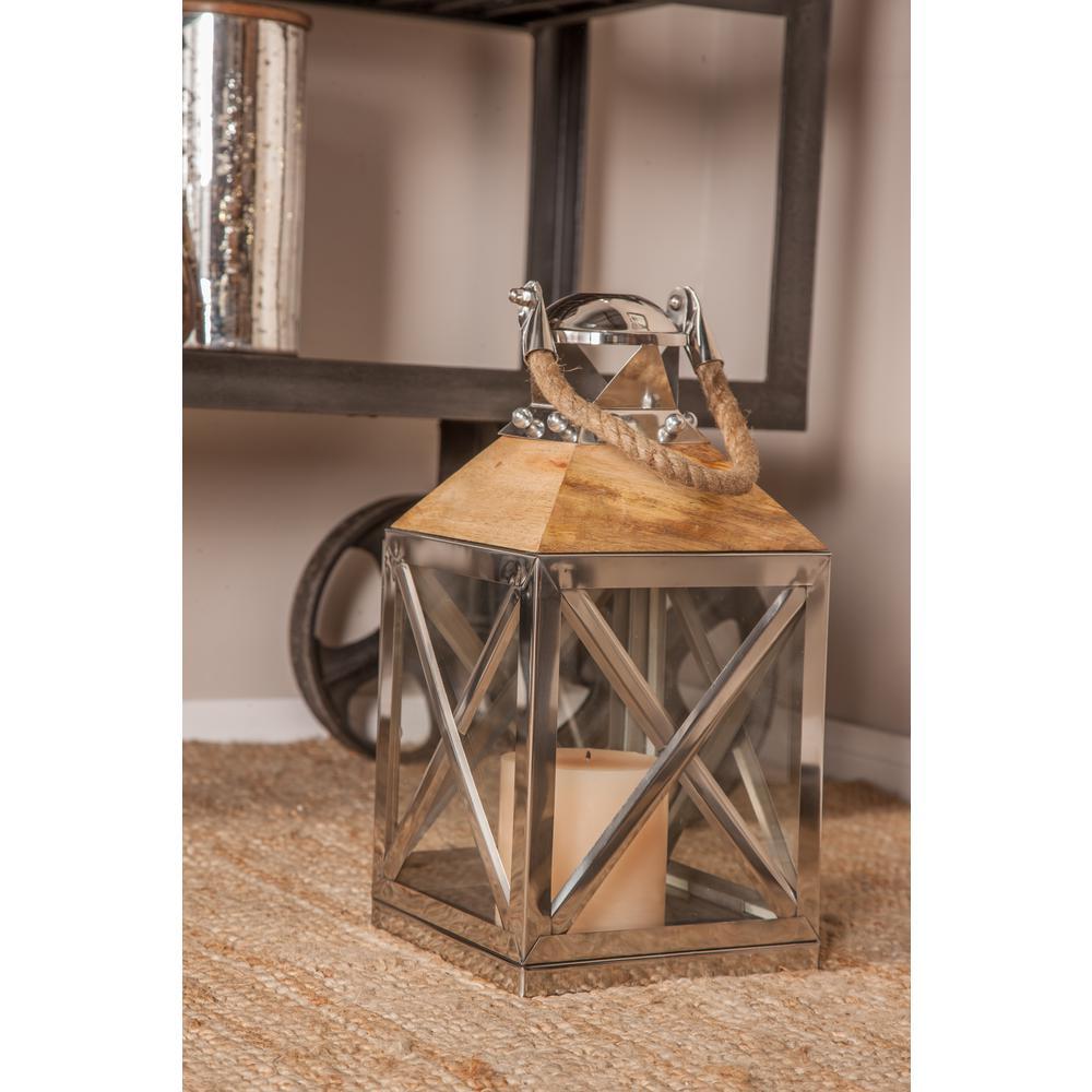 Litton Lane Silver Box Design Candle Lantern 79675