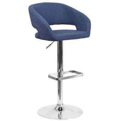 32 in. Adjustable Height Blue Cushioned Bar Stool