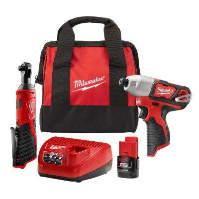 M12 12-Volt Lithium-Ion Cordless 1/4 in. Impact Driver and 3/8 in. Ratchet Combo Kit