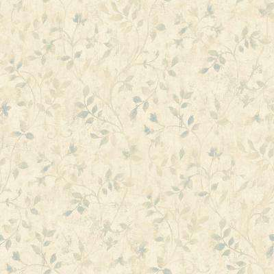 Vinca Taupe Trailing Leaves Wallpaper