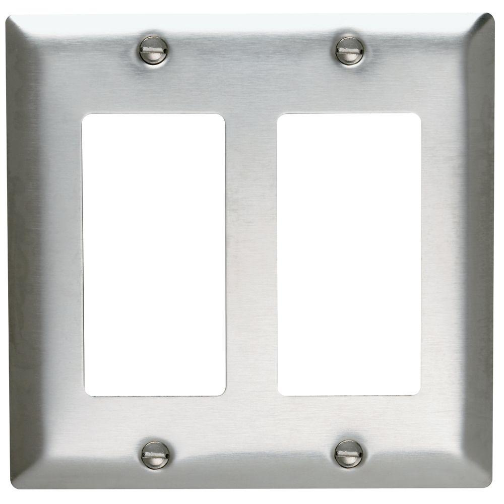 Legrand Pass Seymour 2 Gang Decora Wall Plate Stainless Steel Wiring A Light Switch Two