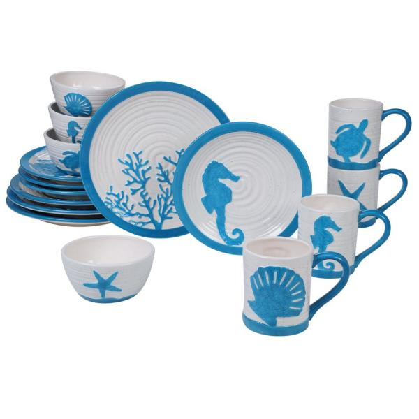 Natural Coast 16-Piece Multi-Colored Dinnerware Set