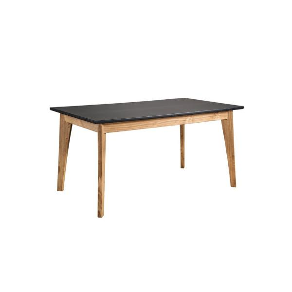 Manhattan Comfort Jackie Dark Grey and Natural Wood 6-Seat Dining Table