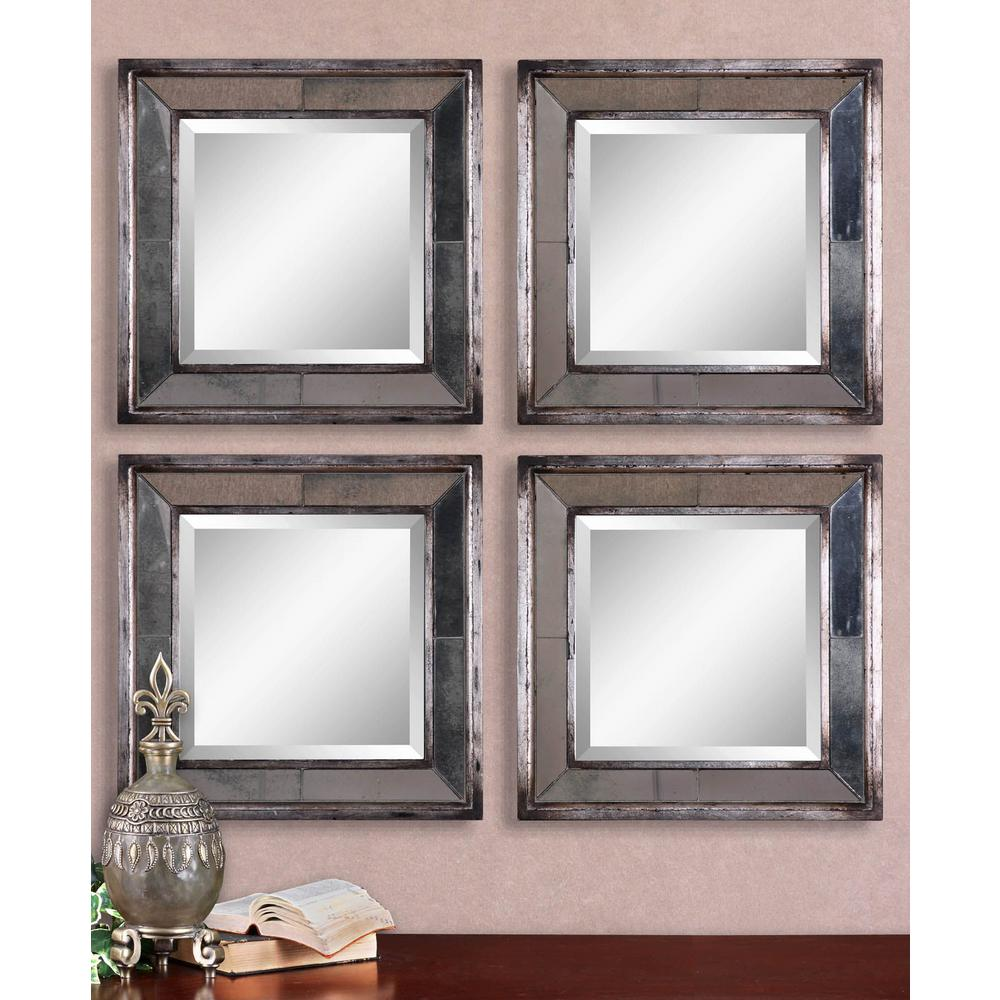 Silver Leaf Square Framed Mirrors Set