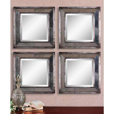 18 in. x 18 in. Silver Leaf Square Framed Mirrors (Set of 2)