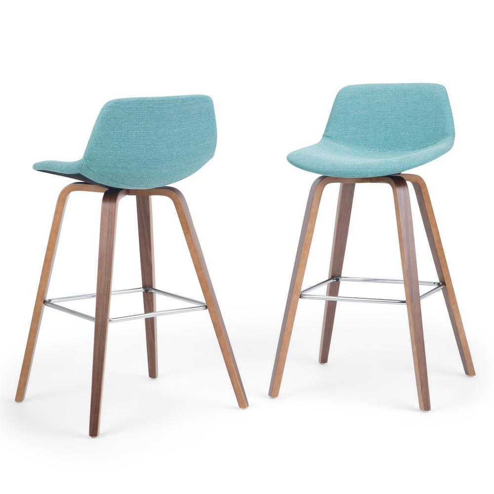 Pleasing Simpli Home Randolph 36 6 In Aqua Blue Linen Look Fabric Caraccident5 Cool Chair Designs And Ideas Caraccident5Info
