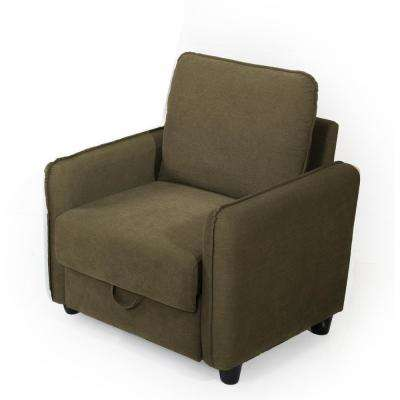 Sheldon Microfiber Armchair with Storage in Taupe