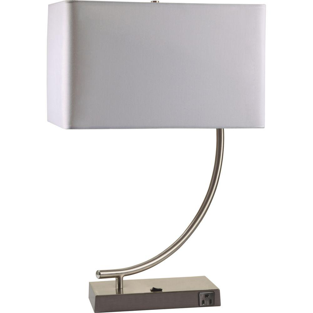 Silver Metal Contemporary Table Lamp With Convenient Outlet