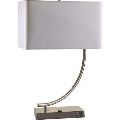 22 in. Silver Metal Contemporary Table Lamp with Convenient Outlet