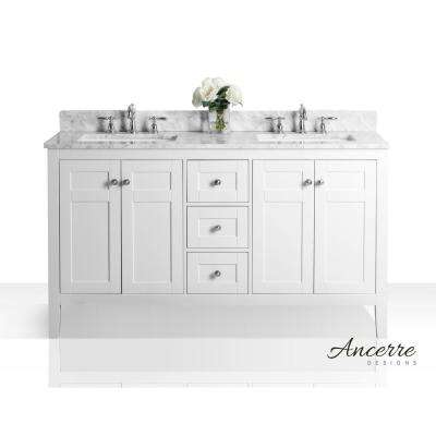 Maili 60 in. W x 22 in. D Vanity in White with Marble Vanity Top in Carrara White with White Basins