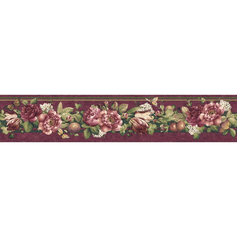The Wallpaper Company 4.1 in. x 15 ft. Purple Jewel Tone Floral and Fruit Trail Border-DISCONTINUED
