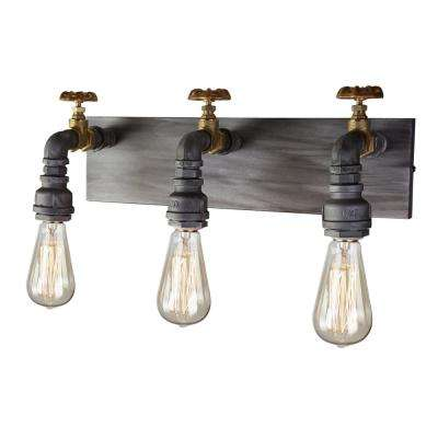 American Industrial 3-Light Iron and Brass Sconce