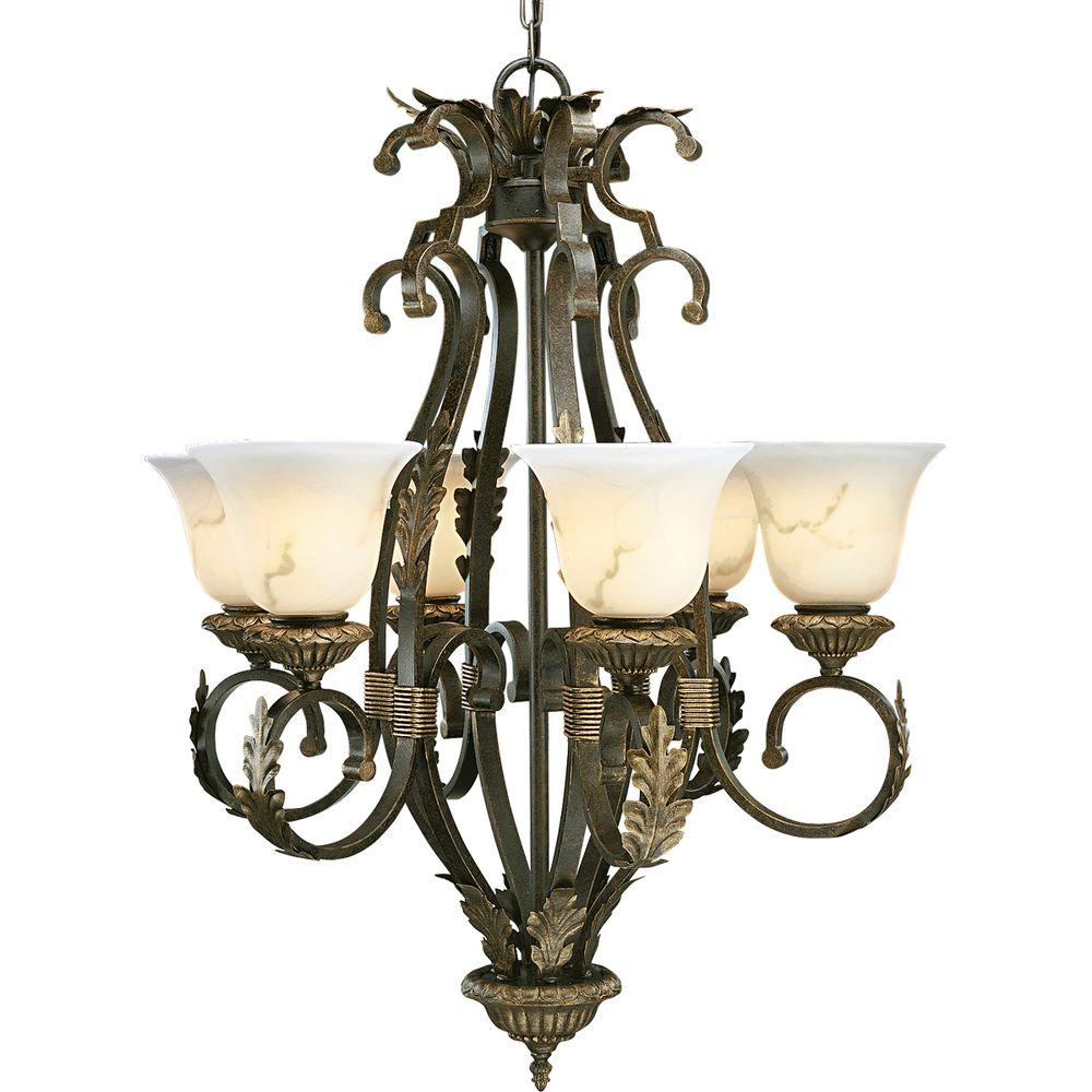 Progress Lighting Palmero Collection Weathered Bronze 6-Light Chandelier-DISCONTINUED