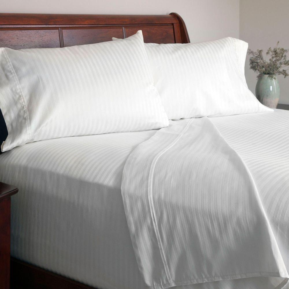 4-Piece White Sateen 300 Count Cotton King Sheet Set