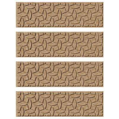Khaki 8.5 in. x 30 in. Ellipse Stair Tread Cover (Set of 4)