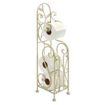 Classic Free Standing Metal Toilet Paper Holder in White Distressed