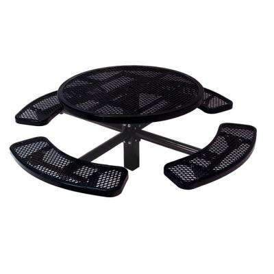 46 in. Diamond Black Commercial Park Round Table in Ground