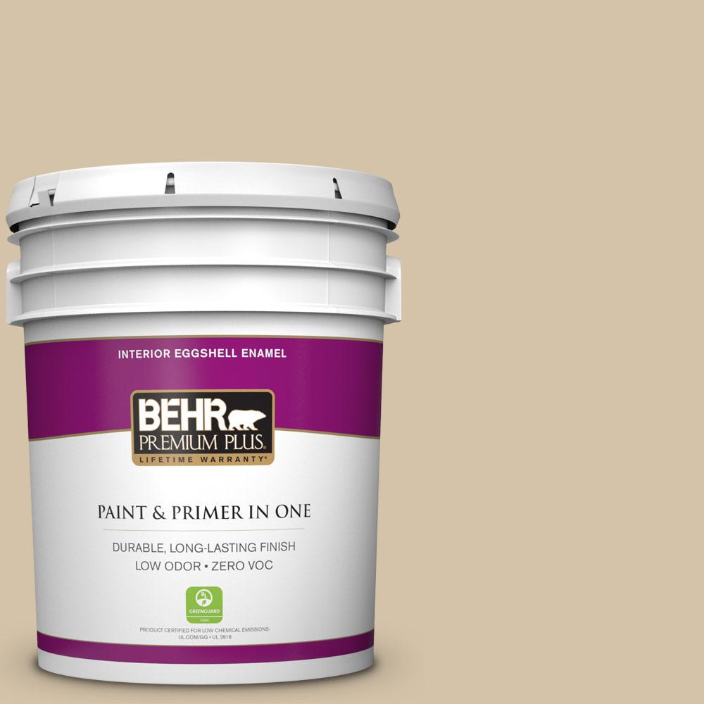 BEHR Premium Plus 5-gal. #740C-3 Oat Straw Zero VOC Eggshell Enamel Interior Paint