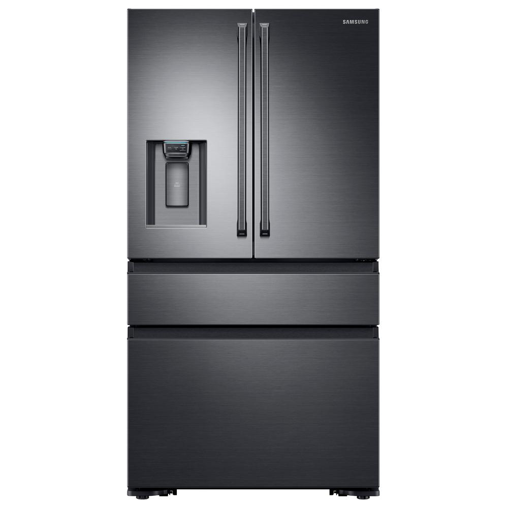 Samsung 22 6 Cu Ft 4 Door French Refrigerator With Polygon Handle In Black Stainless Counter Depth Rf23m8090sg The Home Depot